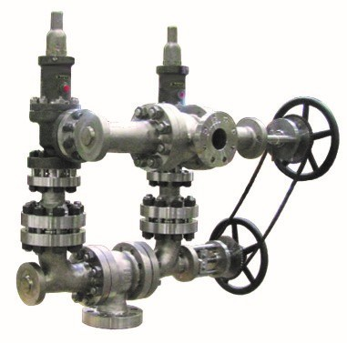 Safety relief valves and changeover valves assembly